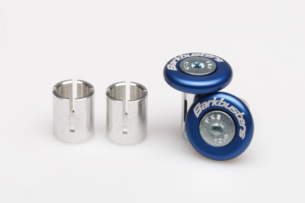 Bar end grip protector Blue. Includes 14 mm & 18 mm internal fittings.