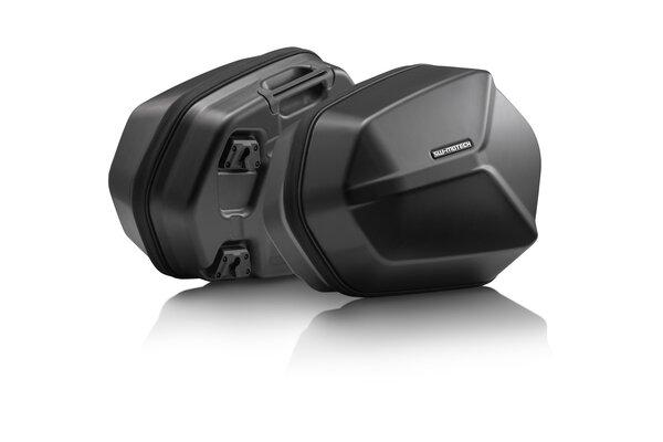 Set de maletas laterales AERO ABS 2x 25 l. Plástico ABS. Negro.