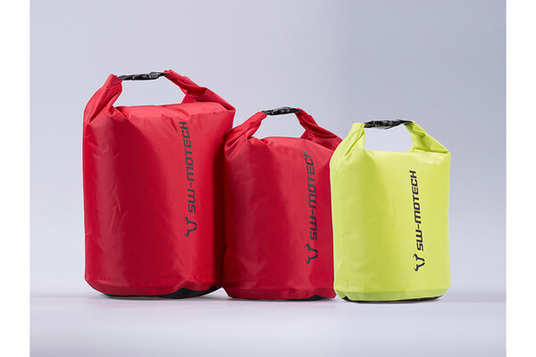 Drypack storage bag set 4/8/13 l. Yellow/red. Waterproof. Roll closure.
