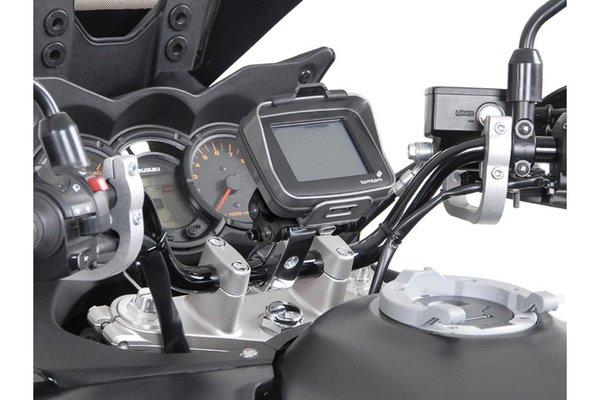 """Support GPS antichoc pour guidon Pour guidon 1 1/4"""" (Ø 32 mm). Gris. Poli."""