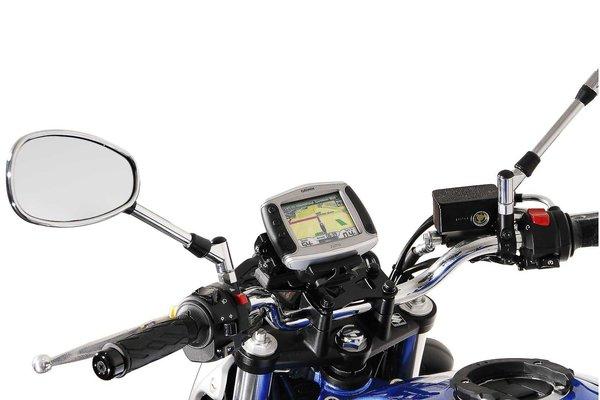 GPS mount for handlebar Black. Honda models, Suzuki SFV 650 (09-16).