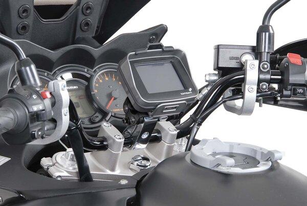 "Support GPS antichoc pour guidon Pour guidon 1 1/4"" (Ø 32 mm). Vib. amorties. Gris."