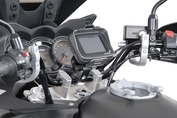 GPS mount with handlebar clamp For Ø 28 mm handlebar. Vibration-damped. Silver.