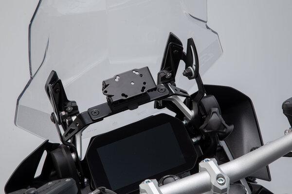 Soporte de GPS QUICK-LOCK Negro. BMW R1200GS (13-), R1250GS (18-).