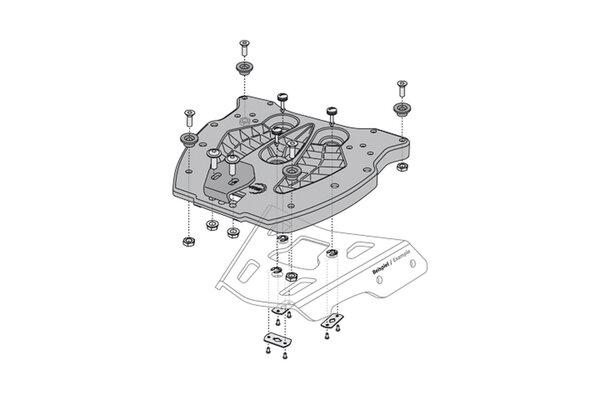 Adapterplatte für ALU-RACK Gepäckträger Für TRAX Topcase. Schwarz.