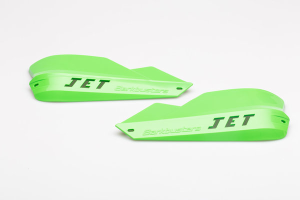 JET Handguard for tapered handlebars Green. Includes mounting hardware.