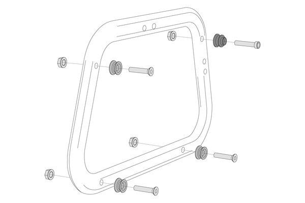 Adapterkit für EVO Kofferträger Für AERO ABS Seitenkoffer. Montage von 2 Koffern.