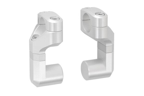 Vario-Lenkerverlegung für Ø 22 mm Lenker Erhöhung/Verlegung variabel. Silbern.