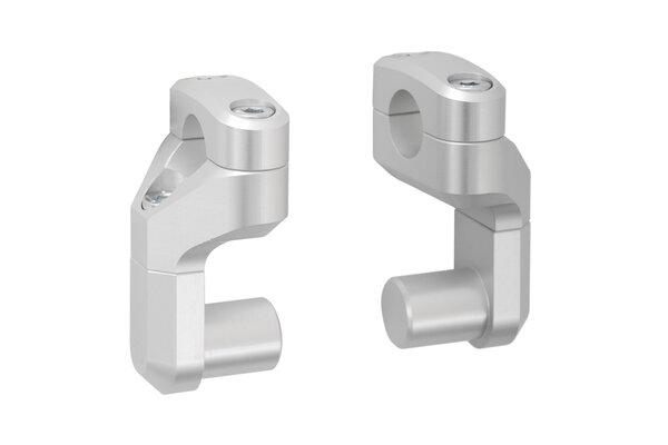 Vario-Lenkerverlegung für Ø 28 mm Lenker Erhöhung/Verlegung variabel. Silbern.