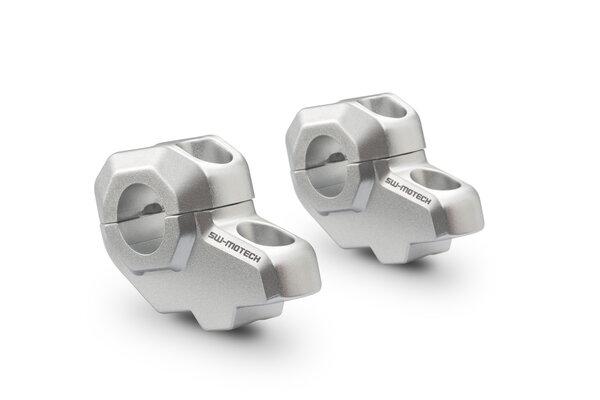 Riser manubrio inclinati Ø 22 mm A=30 mm. Posa a 21 mm. Argento.