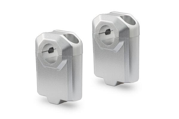 Elevador de manillar Ø 22 mm H=50 mm. Plateado.