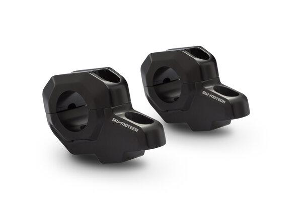 Lenkerverlegung für Ø 28 mm Lenker H=30 mm. Verlegung um 22 mm. Schwarz.