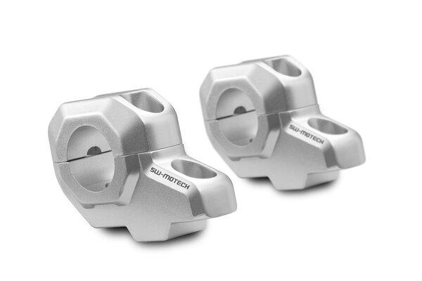 Lenkerverlegung für Ø 28 mm Lenker H=30 mm. Verlegung um 22 mm. Silbern.