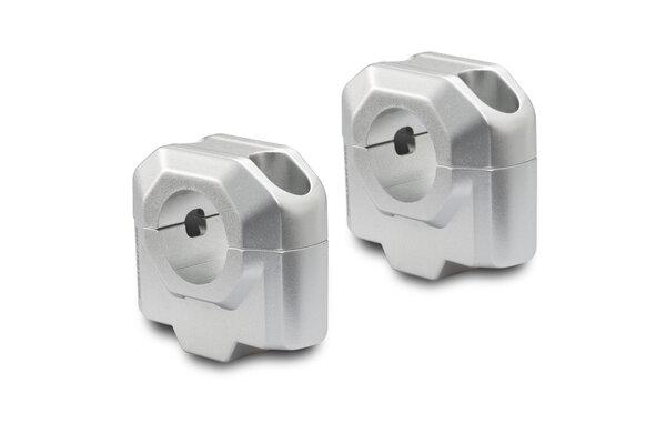 Bar riser for Ø 28 mm handlebar H=30 mm. Silver.