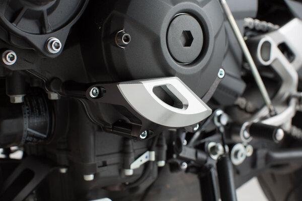 Motorgehäusedeckel-Schutz Schwarz/Silbern. XSR900 (15-), MT-09/Tracer (14-).