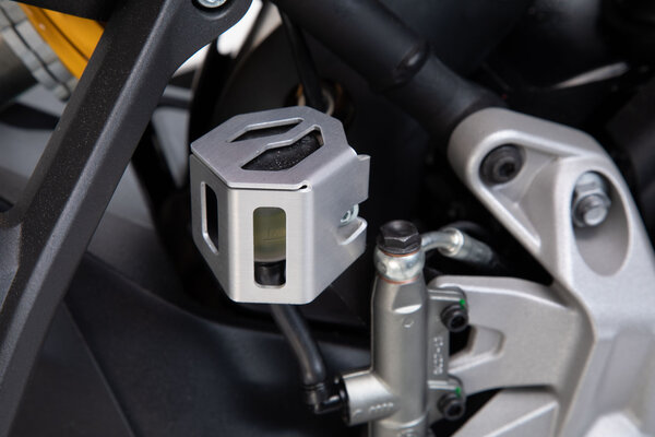 Protezione serbatoio liquido dei freni Argento. Modelli BMW GS/GT,Modelli Ducati,KTM 790.