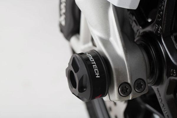 Sturzpad-Kit für Vorderachse Schwarz. BMW F800R,R1200,R1250,RnineT,S1000XR.