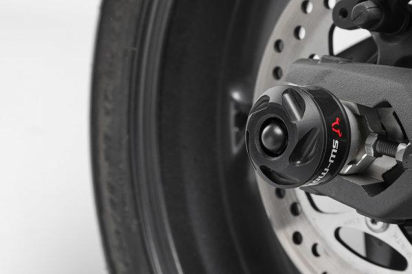 Roulettes de protection pour bras oscillant Noir. Street Triple (12-) / Rx, Daytona (15-).