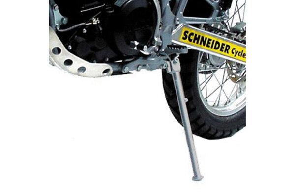 """Seitenständer Grau. Reifenpaarung vorn 21""""/hinten 18""""."""