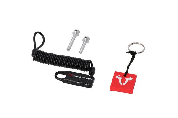 Kit antivol pour sacoches de réservoir PRO/ EVO Goupille de sécurité et câble antivol.