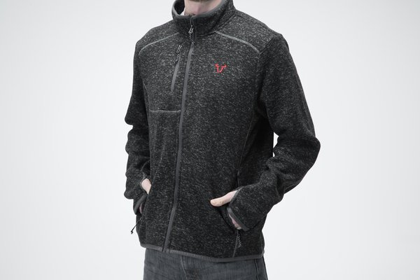 Soft knitted fleece cardigan Core Line. Black. Men. Size XXL.