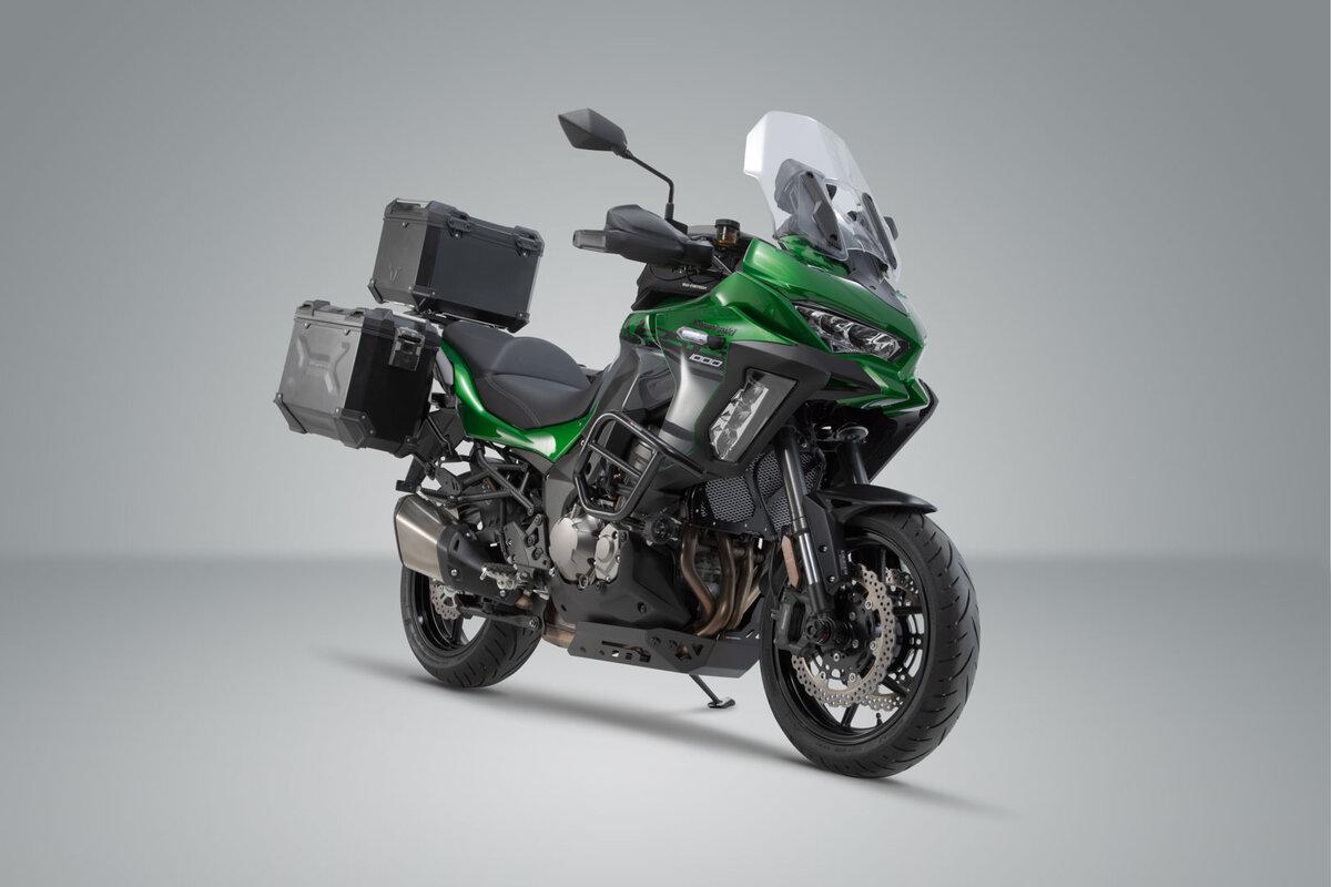 Schwarz//Silbern f/ür Kawasaki Versys 1000 15- SW-MOTECH Seitenst/änderfu/ß-Verbreiterung