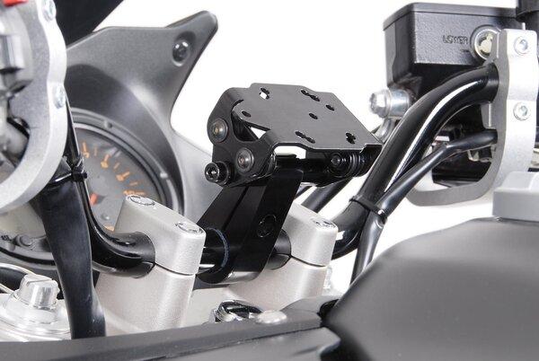 Soporte de GPS anti-sacudida para manillar Negro. Anodizado. Para manillar Ø de 22 mm