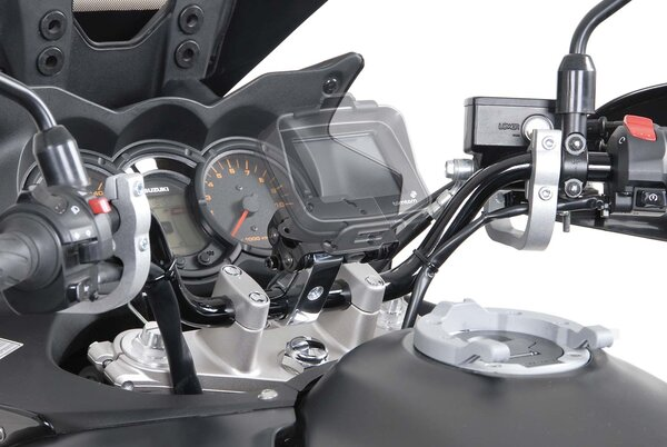 """GPS mount with handlebar clamp For 1 1/4"""" (Ø 32 mm) handlebar. Damped. Silver."""