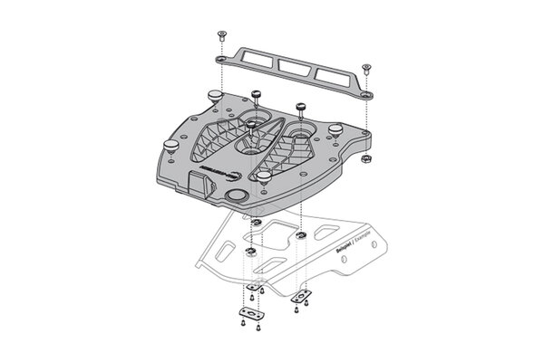 Adapter plate for ALU-RACK For Givi/Kappa Monolock. Black.