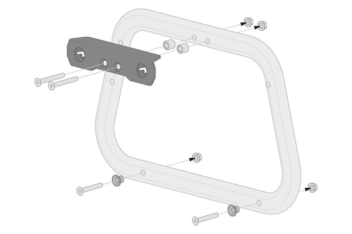Montage von Sw-Motech Adapterkit für PRO Seitenträger Für AERO ABS Seitenkoffer