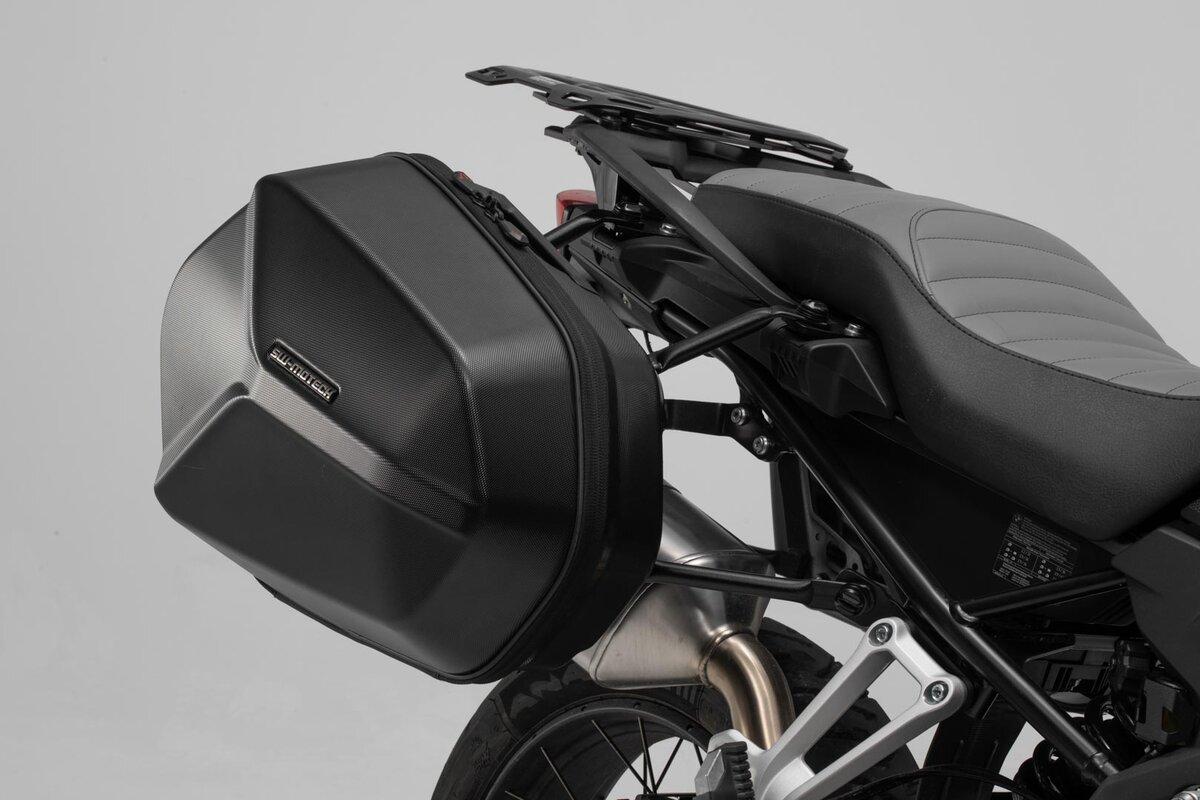 Supporto per bagagli laterali per moto nero Supporto per bagagli laterali per motocicletta Sostituzione accessori staffa per borsa da sella