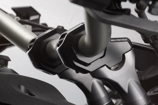 Lenkerverlegung für Ø 22 mm Lenker H=30 mm. Verlegung um 21 mm. Schwarz.