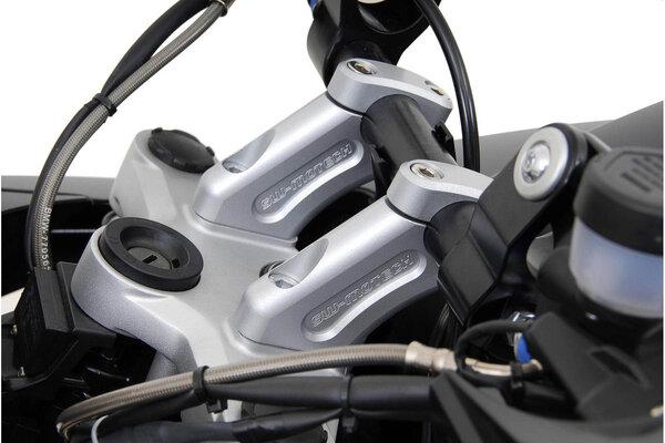 Lenkerverlegung H=20 mm. Verlegung um 30 mm. Silbern. BMW R1200GS.