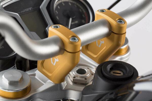 Lenkerverlegung H=20 mm. Verlegung um 30 mm. Golden. BMW R nineT.
