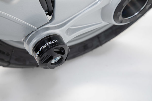 Roulettes de protection pour bras oscillant Noir. Modèles BMW avec monolever à l\'arrière.
