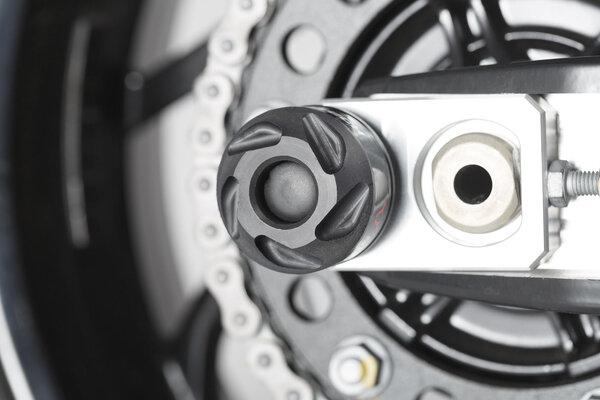 Roulettes de protection pour bras oscillant Noir. BMW modèles. Husqvarna Nuda 900.