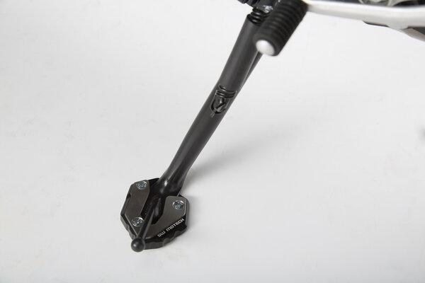 Seitenständerfuß-Verbreiterung Schwarz/Silbern. Yamaha MT-09 Tracer, XSR900/Abar.