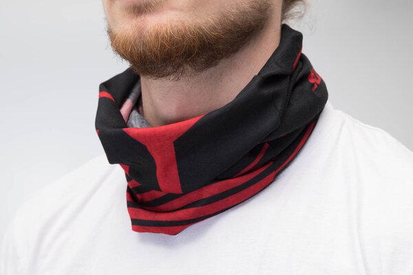 Halstuch 50 x 25 cm. Schwarz/Rot. 100% Polyester. Nahtlos.